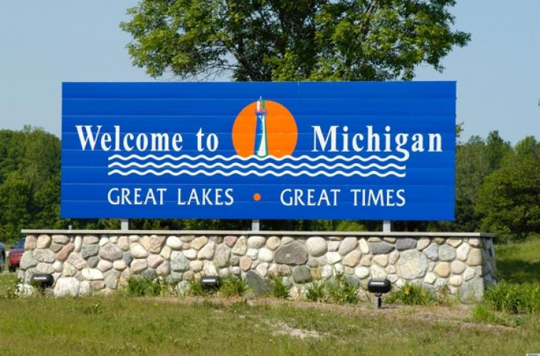 Welcome to Michigan Sign at State Border